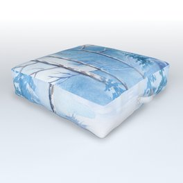 Winter Landscape Frozen Pond Outdoor Floor Cushion