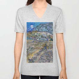 Enclosed Wheat Field With Peasant, Landscape At Saint-remy - Digital Remastered Edition Unisex V-Neck