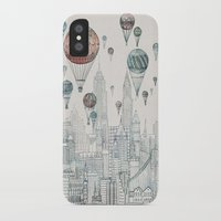 edinburgh iPhone & iPod Cases featuring Voyages Over New York by David Fleck