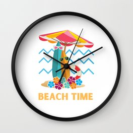 Surfing Beach Time Wall Clock
