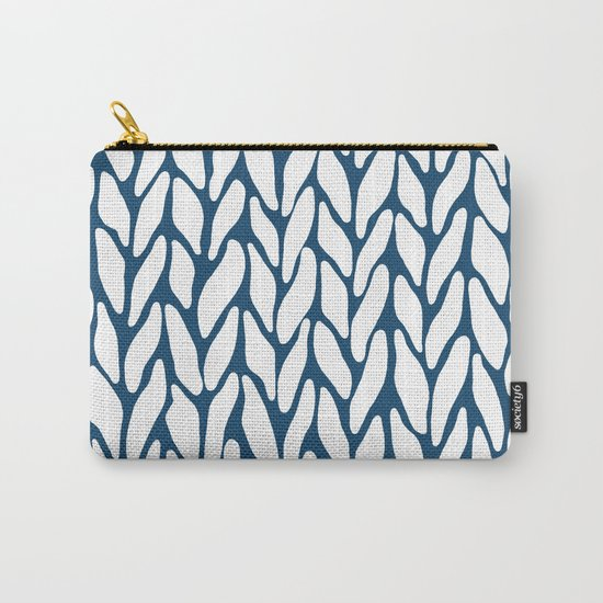 Hand Knitted Navy Carry-All Pouch
