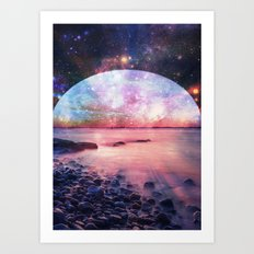 Mystic Lake : Fantasy Moon Landscape Art Print