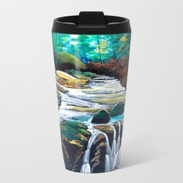 Mountain stream scenery of autumnal leaves Travel Mug