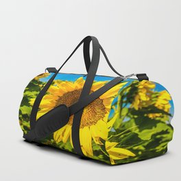 Here Comes the Sun - Giant Sunflower on Sunny Day in Kansas Duffle Bag