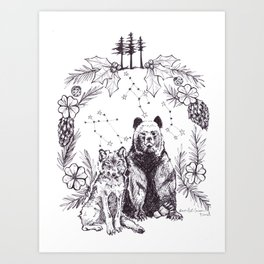Wolf and Bear United Art Print