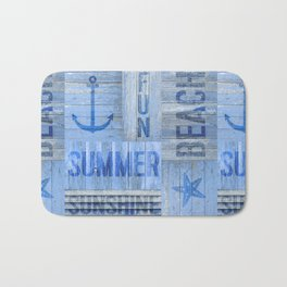 Blue Summer Beach Wood Bath Mat