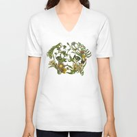 shipping V-neck T-shirts featuring Botanical Pug by Huebucket