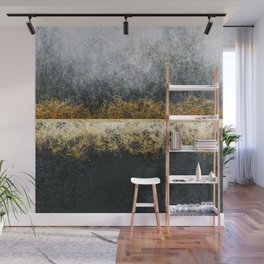 Gold Black and White Abstract Artwork Wall Mural