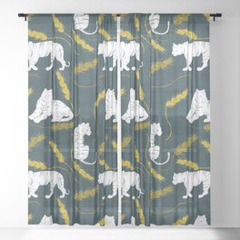 Three Sad Tigers Sheer Curtain