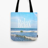 relax Tote Bags featuring Relax by JuniqueStudio