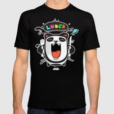 PANDA LUNCH TIME! Mens Fitted Tee Black MEDIUM
