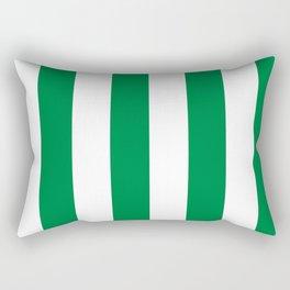 Classic Cabana Stripes in White + Kelly Green Rectangular Pillow