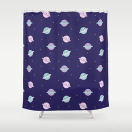 Kawaii Pastel Planets Shower Curtain