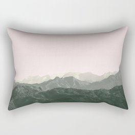 Mountains   Green + Pink Rectangular Pillow