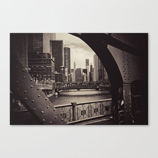 Up The Chicago River Canvas Print