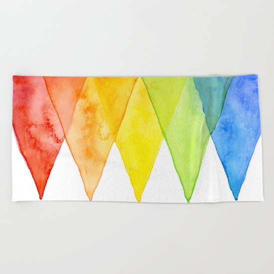 Geometric Watercolor Shapes Triangles Pattern Beach Towel