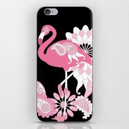 Pink Flamingo Girly Cute Black iPhone Skin