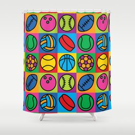 Sport Ball Pop Art Shower Curtain