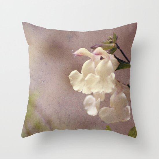 White flower and texture Throw Pillow