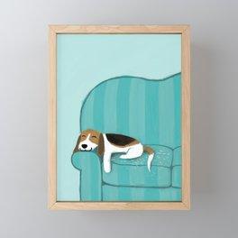 Happy Couch Beagle | Cute Sleeping Dog Framed Mini Art Print