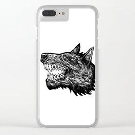 Wolf Hound Head Clear iPhone Case