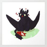 toothless Art Prints featuring Toothless by Flora