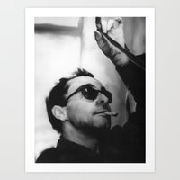 godard Art Prints featuring Jean-Luc Godard by Tia Hank