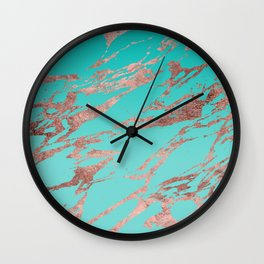 Modern Chic Rose Gold Blue Marble Wall Clock