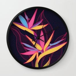 Strelitzia Flowers Wall Clock
