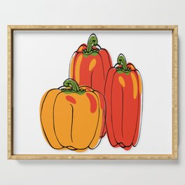 Red + Yellow Bell Peppers Serving Tray