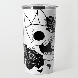 Skull 'n' Roses (ScribbleNetty-Black&White) Travel Mug