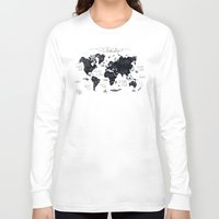 map Long Sleeve T-shirts featuring The World Map by Mike Koubou
