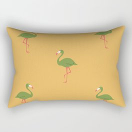 Gold Tropical Flamingo Pattern Rectangular Pillow