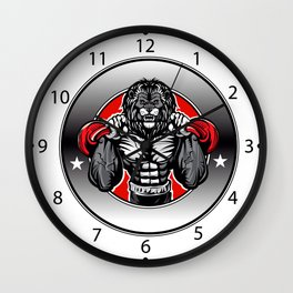 Illustration of a lion fighter Wall Clock