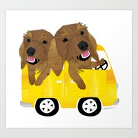 Dogs in a Bus on Vacation Art Print