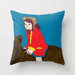 Bear Girl Throw Pillow