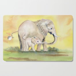 Colorful Mom and Baby Elephant 2 Cutting Board