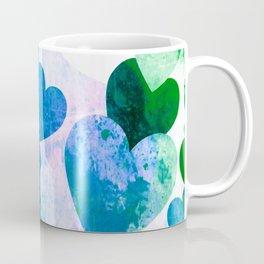 Fab Green & Blue Grungy Hearts Design Coffee Mug
