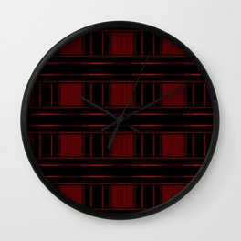 Abstract Red Electric Plaid Pattern Wall Clock