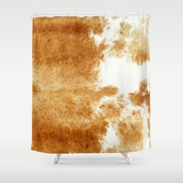 Golden Brown Cow Hide Shower Curtain