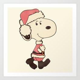 Merry Snoopy Christmas Art Print
