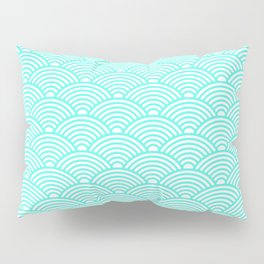 Japanese Waves (Turquoise & White Pattern) Pillow Sham