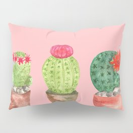 Three Cacti watercolor pink Pillow Sham