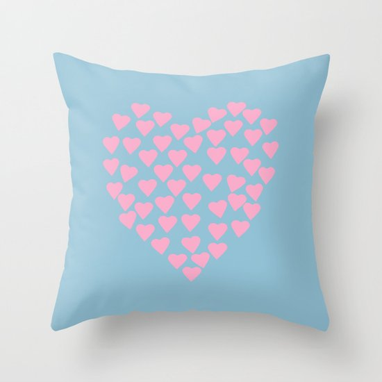 Hearts Heart Pink on Blue Throw Pillow