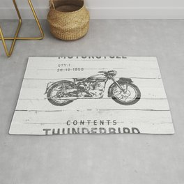 Vintage Triumph Thunderbird Motorcycle Rug