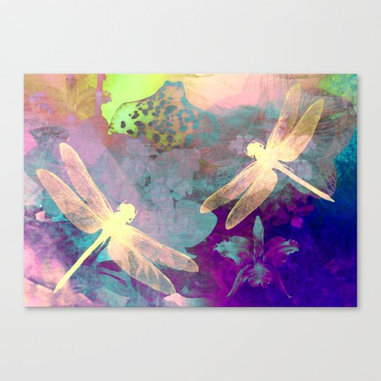 Painting Dragonflies and Orchids A Canvas Print