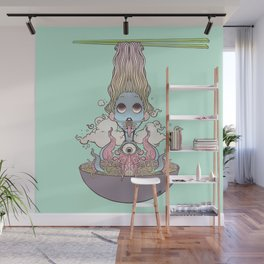Ramen Noodle And Octopus Tentacle Anime Girl Wall Mural