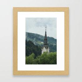 Church Steeple in the Fog Framed Art Print