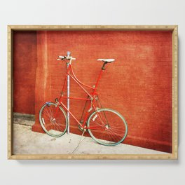 Red Tall Bike Against Brick Wall Serving Tray
