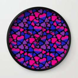 Bi Pride Hearts Wall Clock